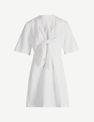 KAREN MILLEN Tie-front V-neck woven mini dress