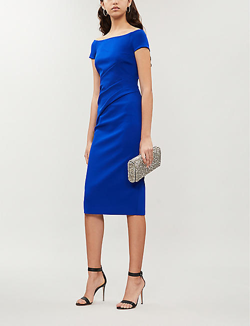 KAREN MILLEN Highline bardot ponté-jersey midi dress