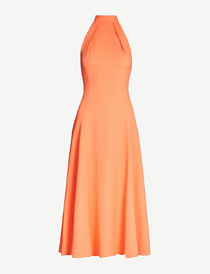 KAREN MILLEN Halterneck flared stretch-crepe dress