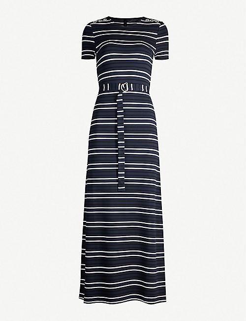 d9c16d400252 KAREN MILLEN Belted striped stretch-jersey midi dress