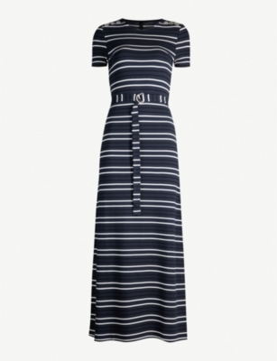KAREN MILLEN Belted striped stretch-jersey midi dress