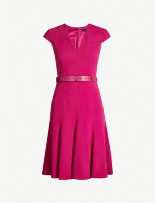 KAREN MILLEN Belted fit-and-flare crepe dress