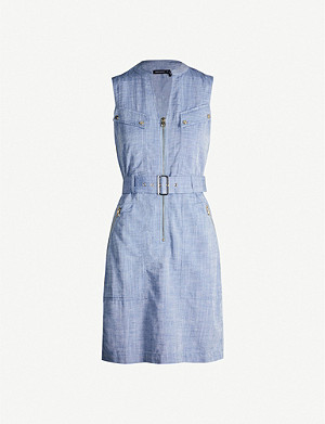 KAREN MILLEN Belted V-neck chambray mini dress