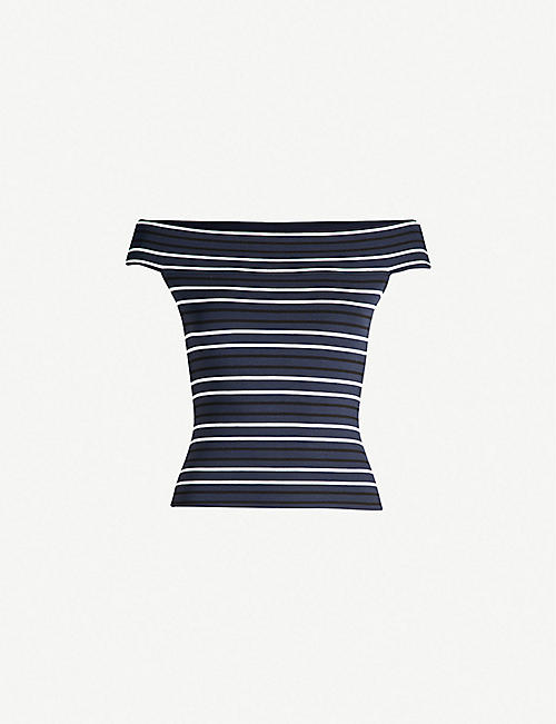 KAREN MILLEN Striped off-the-shoulder stretch-jersey top