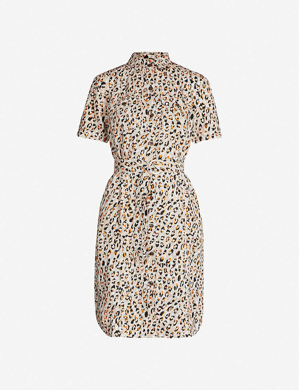 ea36c5b31583 KAREN MILLEN - Leopard-print collared linen-blend mini dress ...