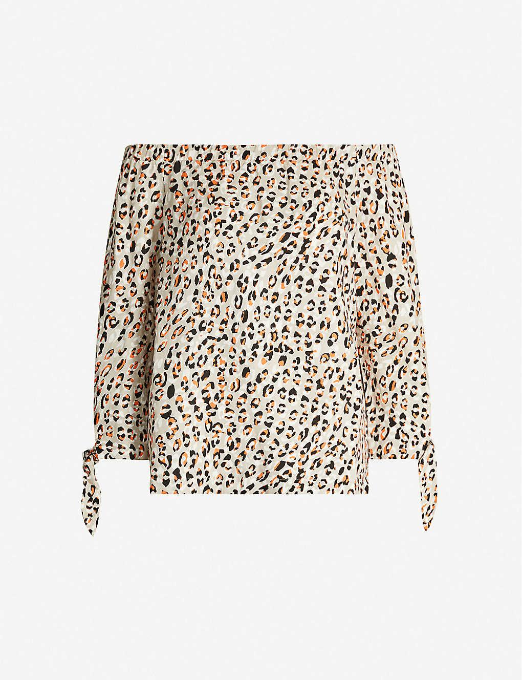 d7a58b6d167aa8 KAREN MILLEN - Off-the-shoulder leopard-print linen-blend top ...