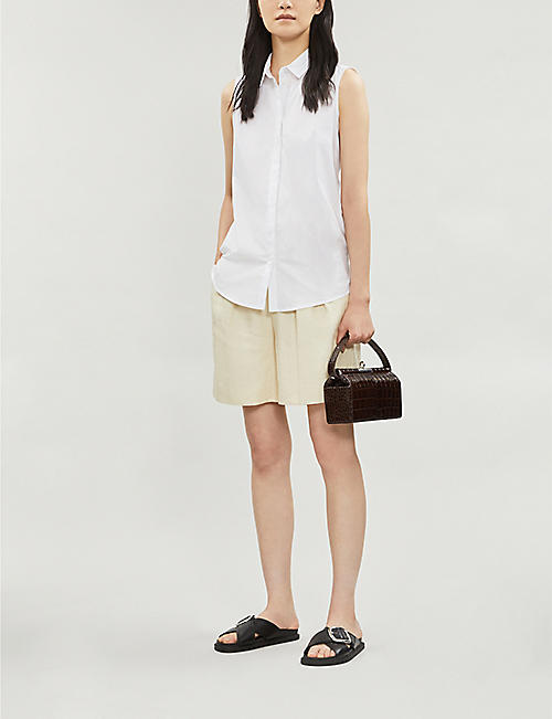 KAREN MILLEN Sleeveless collared stretch-cotton shirt