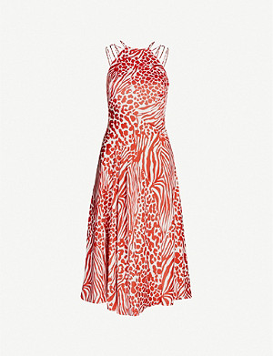 KAREN MILLEN Graphic-print flared satin dress