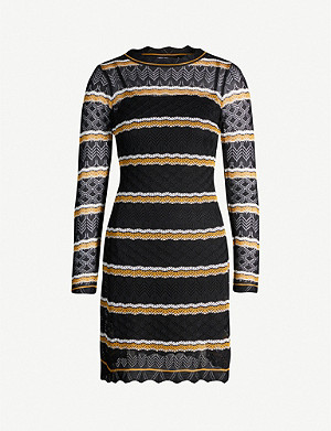 KAREN MILLEN Striped pointelle-knit mini dress