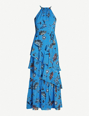KAREN MILLEN Floral-print ruffle-tiered crepe dress