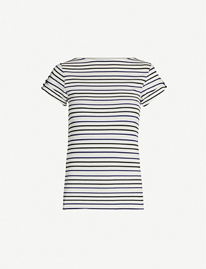 KAREN MILLEN Striped round-neck stretch-jersey T-shirt