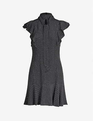 KAREN MILLEN Ruffled polka-dot crepe dress
