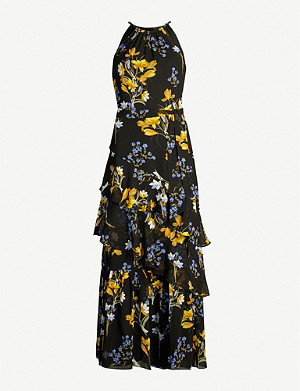 KAREN MILLEN Floral-print tiered crepe dress