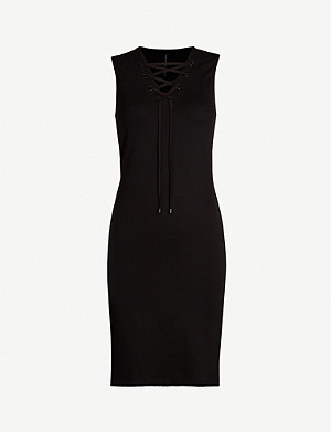 KAREN MILLEN Lace-up neck jersey dress