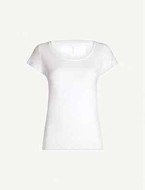 KAREN MILLEN Scoop-neck cotton-jersey T-shirt