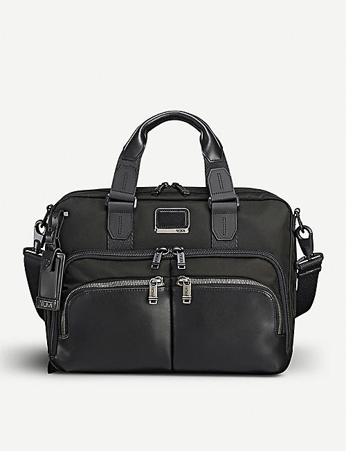 TUMI Albany slim commuter leather and fabric brief bag