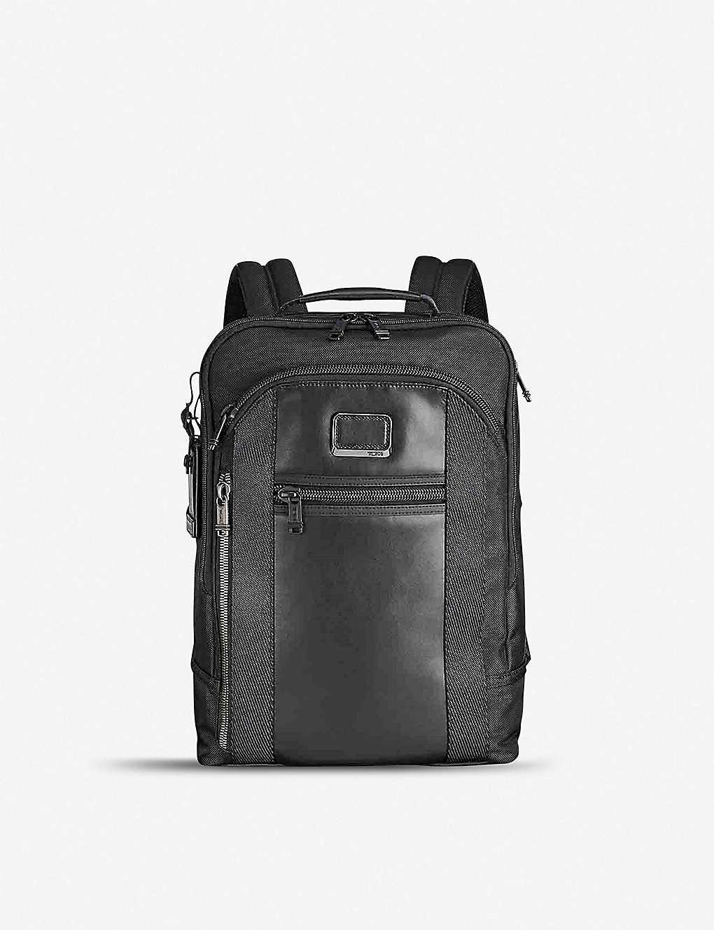 bee6ff2f4 Alpha Bravo Davis ballistic nylon and leather backpack - Black ...