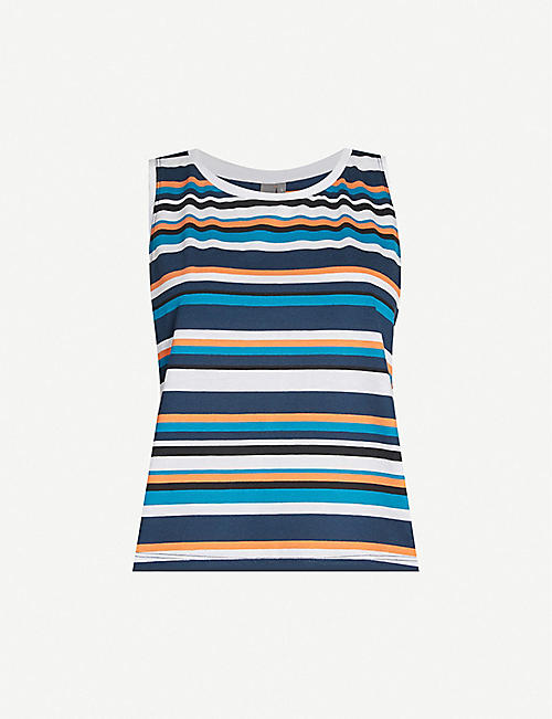 SWEATY BETTY Summer cropped striped cotton-blend jersey top