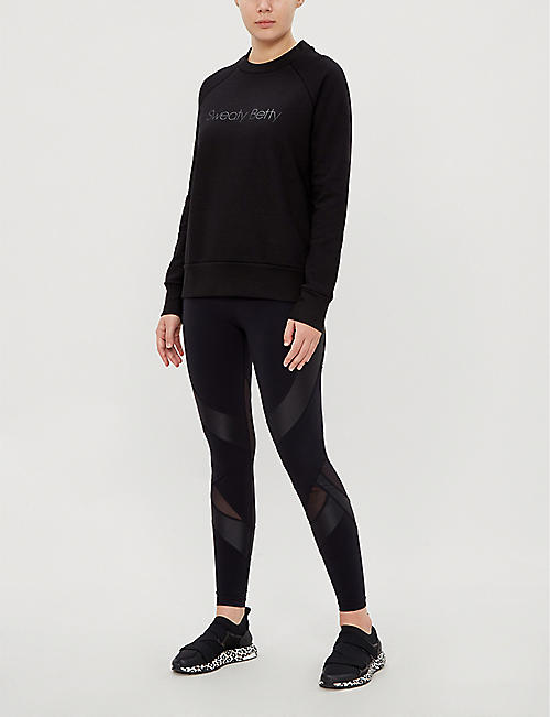 SWEATY BETTY Branded round-neck cotton and modal-blend sweatshirt
