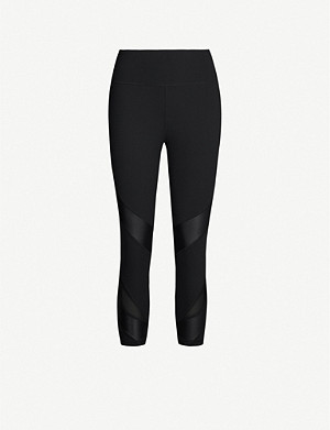 SWEATY BETTY Power 7/8 Wetlook stretch-jersey and mesh leggings
