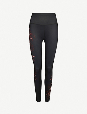 SWEATY BETTY Reversible 7/8 graphic-print stretch-jersey yoga leggings