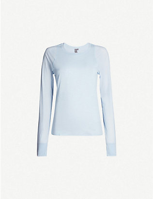 SWEATY BETTY: Breeze round-neck perforated jersey top