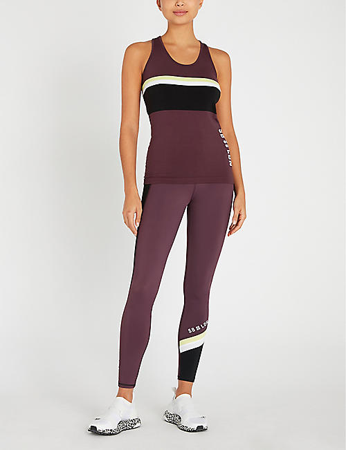 SWEATY BETTY Athlete colour-block seamless stretch-jersey vest top