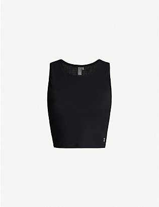 SWEATY BETTY: Homestraight Run sleeveless cropped jersey top