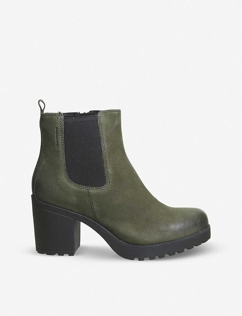 0d97db9ce20b Grace heeled leather chelsea boot - Dark olive nubuick ...