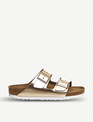 BIRKENSTOCK Arizona metallic faux-leather sandals