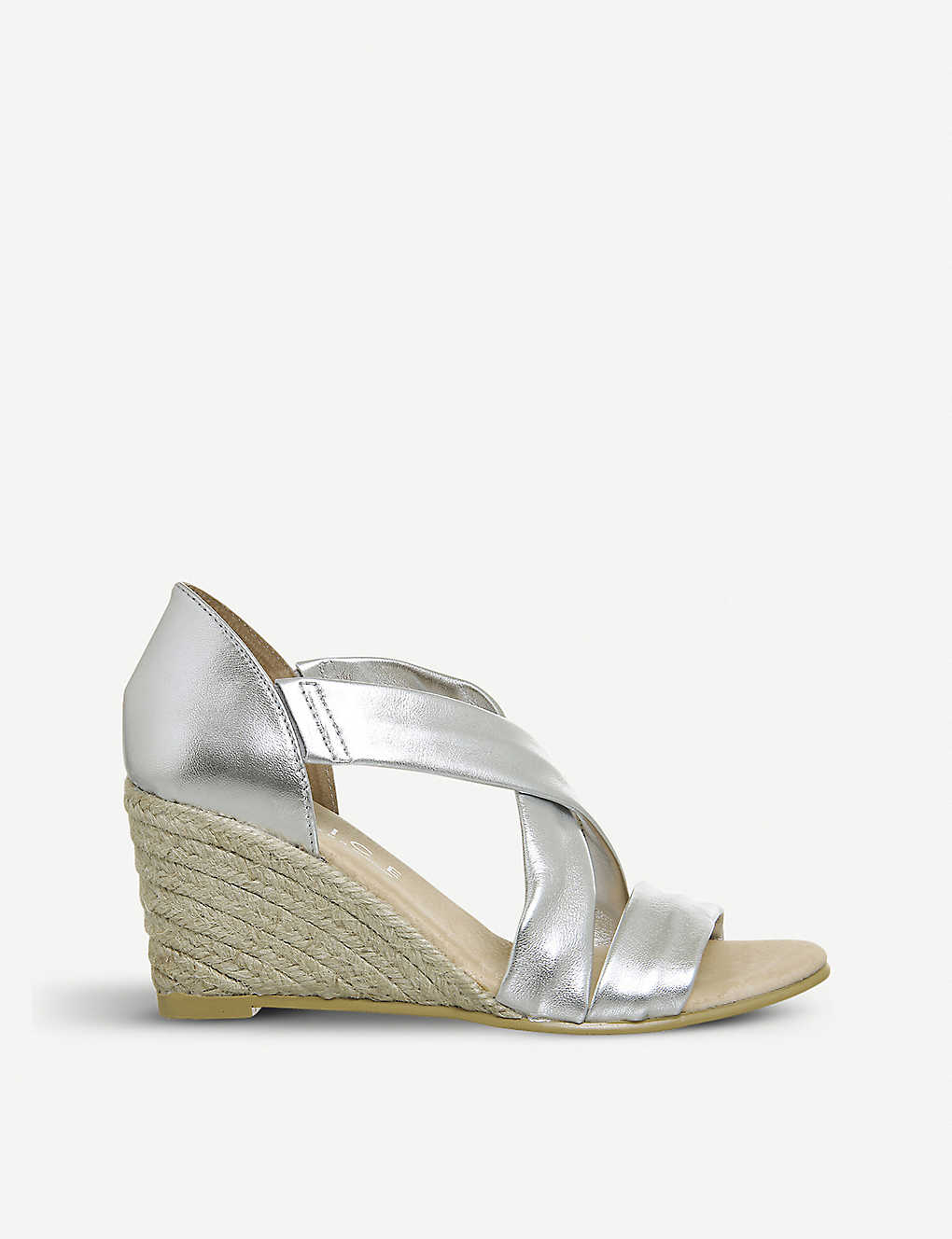 78c877afc4 OFFICE - Maiden cross-strap metallic leather wedge sandals ...