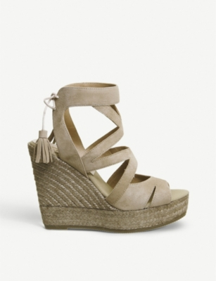 OFFICE Kanna Berti Back Tie suede wedge sandals