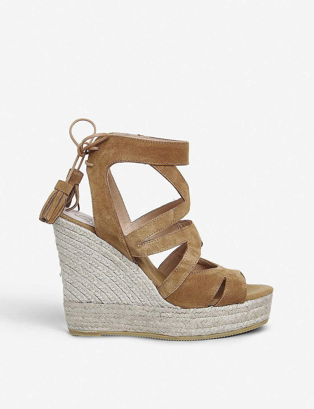 e69df46227 OFFICE - Kanna Berti Back Tie suede wedge sandals | Selfridges.com