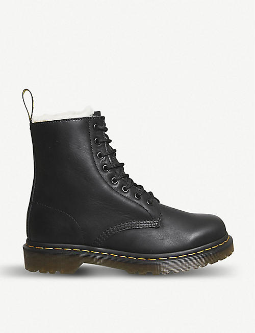 DR. MARTENS 1460 Serena 8-eye leather and faux-shearling boots