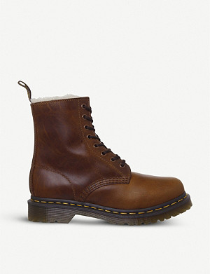 DR. MARTENS Serena 8-eyelet shearling-lined leather boots