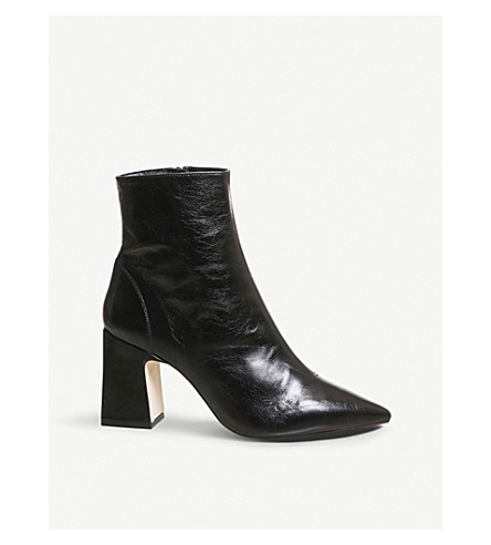 OFFICE - Alto pointed block-heel leather ankle boots  d6fe31f9fd4f