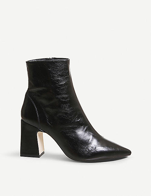 OFFICE Alto pointed block-heel leather ankle boots e68d3e876a