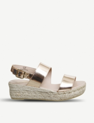 OFFICE Ig3 metallic leather flatform sandals