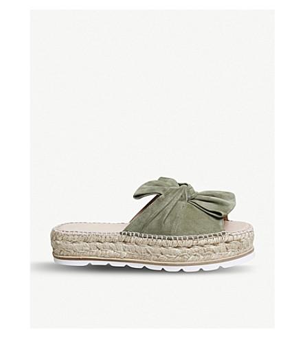 5f9beffe6ae7 OFFICE Samanta bow-detail suede flatform sandals (Khaki+suede