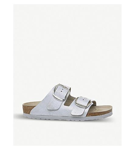 56101c63e145 BIRKENSTOCK Arizona Big Buckle metallic-suede sandals (Washed+metallic+blue