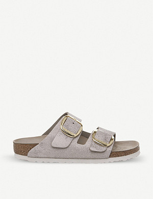 BIRKENSTOCK Arizona Big Buckle metallic-suede sandals