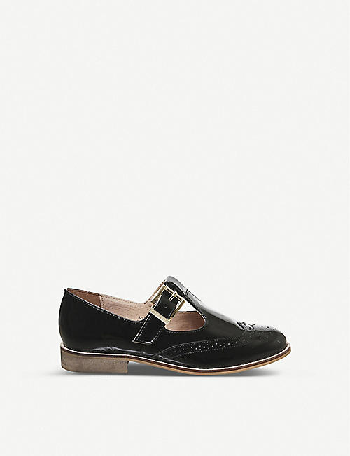 OFFICE: Fop- T-bar patent-leather flats
