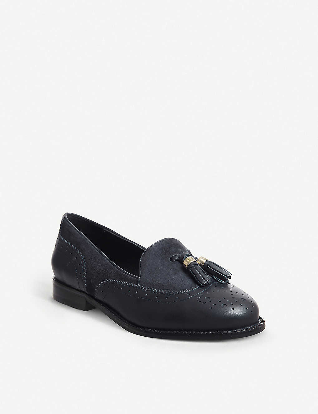 1d4b0569ae4 ... Familiar tassel-detail patent leather loafers - Navy leather suede ...