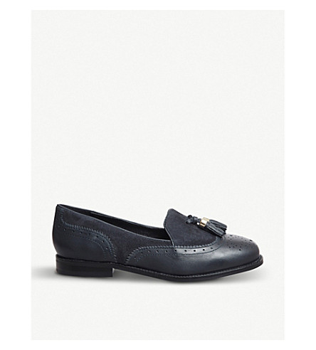 e58bc4e8d4a OFFICE Familiar tassel-detail patent leather loafers (Navy+leather++suede