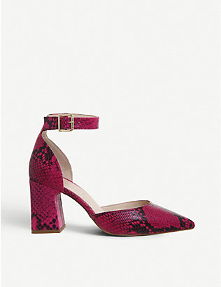OFFICE: Meringue point-toe snakeskin-print leather courts