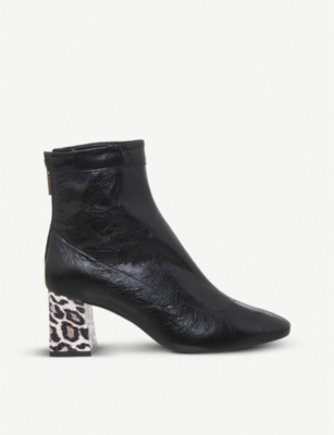 OFFICE Leopard-print patent-leather ankle boots