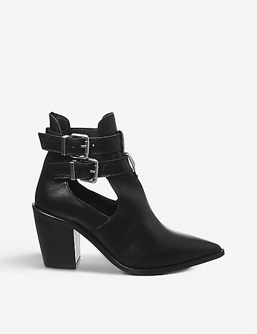 OFFICE: Amanda western block heel leather boots