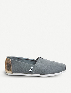 OFFICE Metallic-detail canvas slip-ons