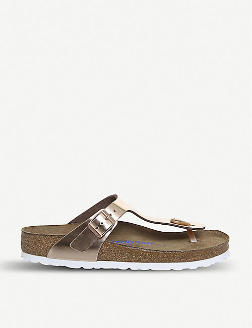 BIRKENSTOCK: Gizeh open-toe metallic sandals