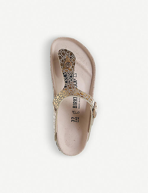 BIRKENSTOCK Gizeh metallic faux-leather sandals